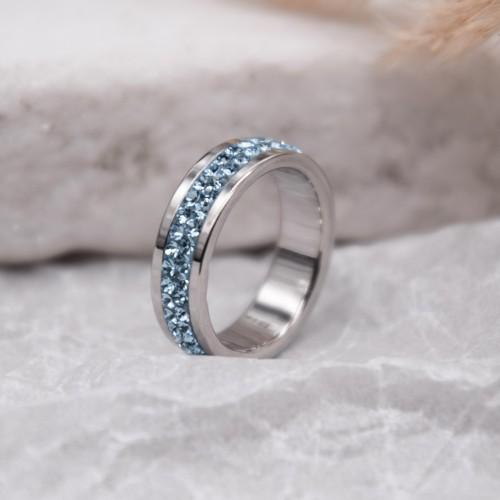 Женское кольцо Swarovski с кристаллами голубого цвета