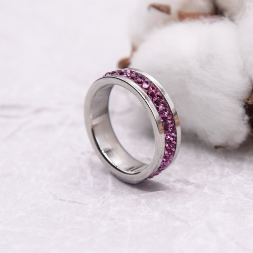 Женское кольцо Swarovski с кристаллами цвета фуксии