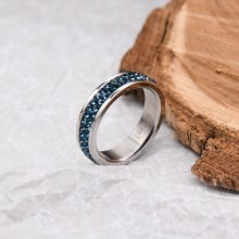 Женское кольцо Swarovski с кристаллами темно-синего цвета