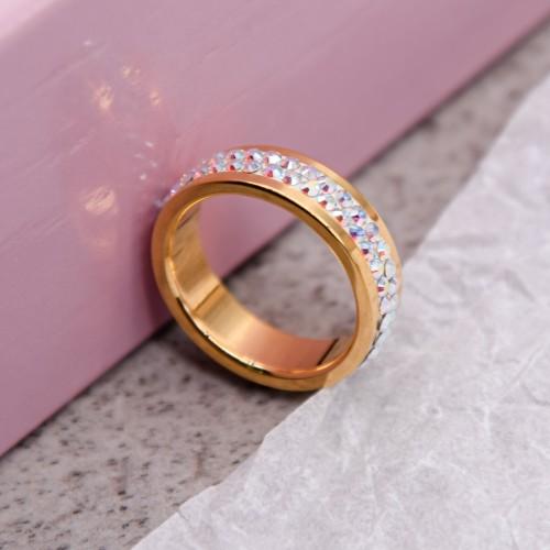 Женское кольцо Swarovski с кристаллами-хамелеонами под золото