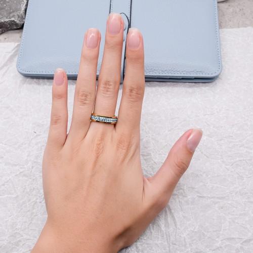 Женское кольцо Swarovski с кристаллами цвета аквамарин золото