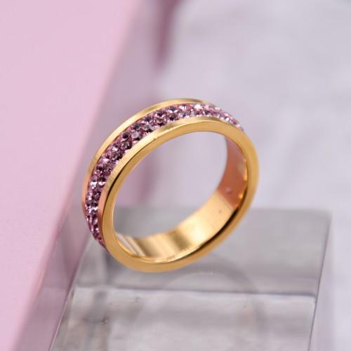 Женское кольцо Swarovski с кристаллами светло-розового цвета под золото
