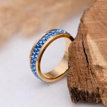 Женское кольцо Swarovski с кристаллами синего цвета под золото