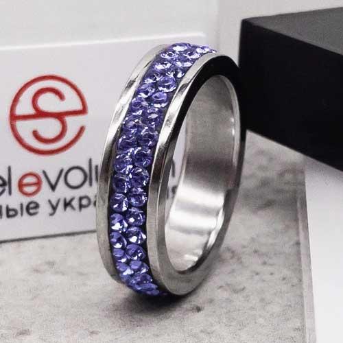 Женское кольцо Swarovski с кристаллами синего цвета