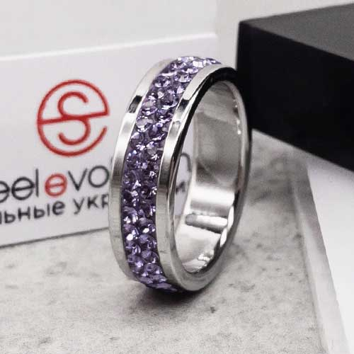 Женское кольцо Swarovski с кристаллами сиреневого цвета