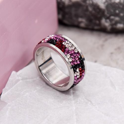 Женское кольцо с разноцветными кристаллами Swarovski Гюльбешекер