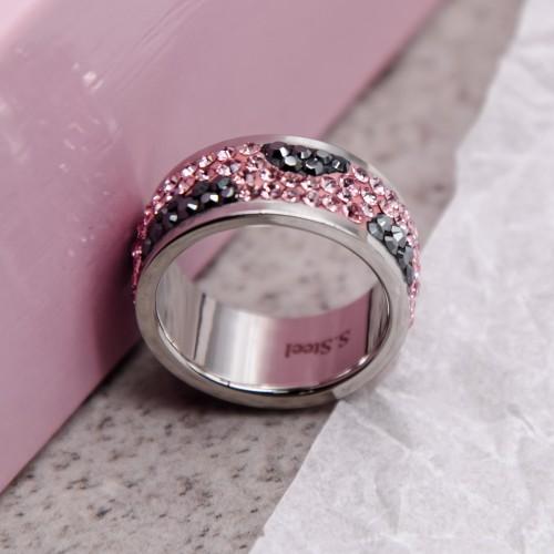 Женское кольцо с разноцветными кристаллами Swarovski Джаным