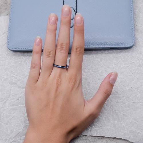 Женское тонкое кольцо с сапфировыми кристаллами Swarovski