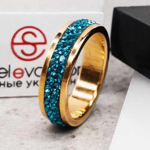 Женское кольцо Swarovski с кристаллами изумрудного цвета под золото