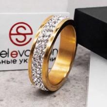 Женское кольцо Swarovski с белыми кристаллами под золото