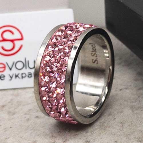 Женское кольцо со светло-розовыми кристаллами Swarovski