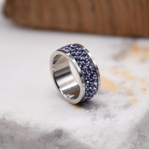 Женское кольцо с сиреневыми кристаллами Swarovski