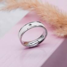 Стальное кольцо с белой эмалью