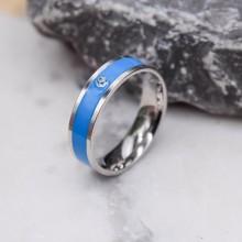 Стальное кольцо с синей эмалью