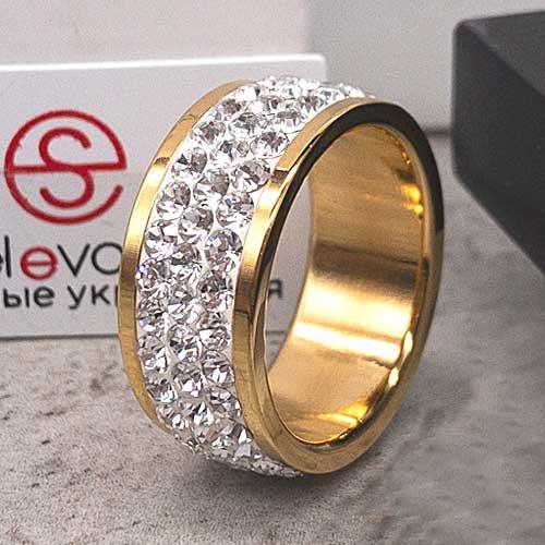 Женское кольцо с белыми кристаллами Swarovski под золото
