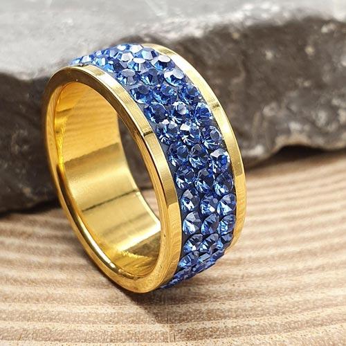 Женское кольцо с синими кристаллами Swarovski под золото