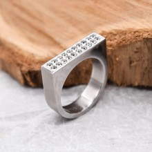 Необычное женское кольцо с кристаллами Swarovski белого цвета