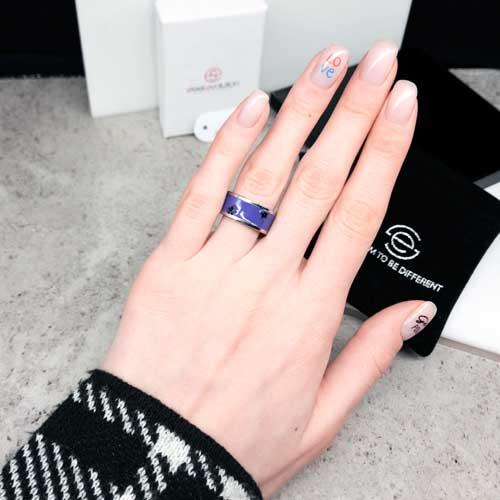 Стальное кольцо с фиолетовой эмалью Swarovski Crystal