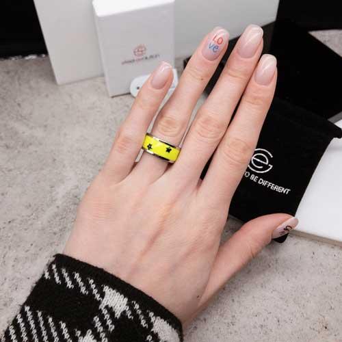 Кольцо Swarovski Crystal женское с ярко-желтой эмалью