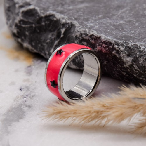 Стальное кольцо с ярко-розовой эмалью Swarovski Crystal