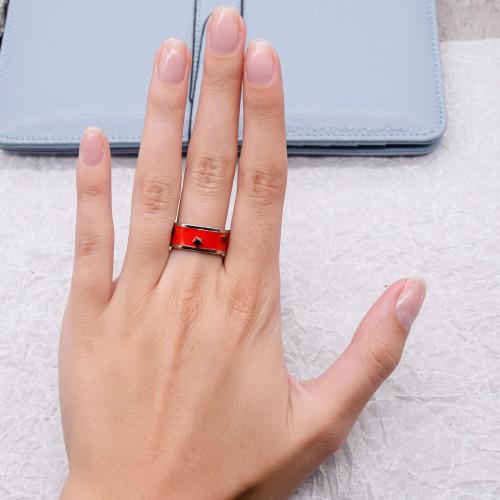 Кольцо Swarovski Crystal женское с красной эмалью