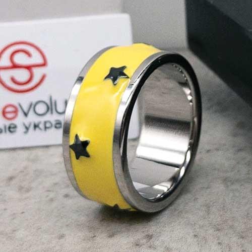 Кольцо Swarovski Crystal женское с желтой эмалью
