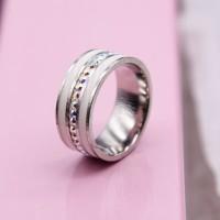 Кольцо с белыми эмалевыми полосками женское Swarovski Crystal