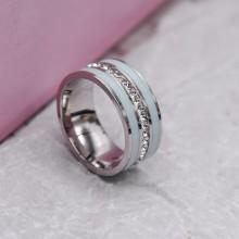 Стальное кольцо с голубыми эмалевыми полосками Swarovski Crystal