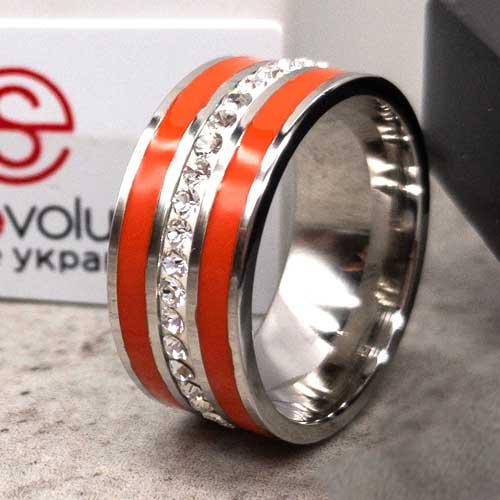Стальное кольцо с красными эмалевыми полосками Swarovski Crystal