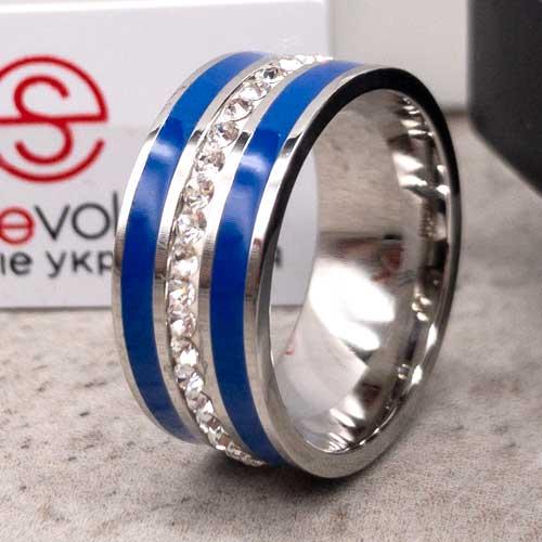 Кольцо с синей эмалью женское Swarovski Crystal