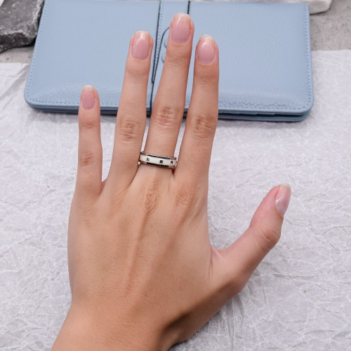 Кольцо с белой эмалью женское Swarovski Crystal