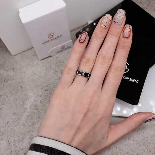 Стальное кольцо с черной эмалью Swarovski Crystal