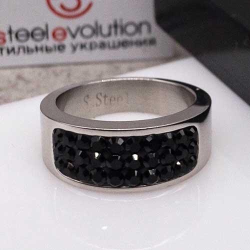 Женское кольцо Swarovski Crystal с черными кристаллами