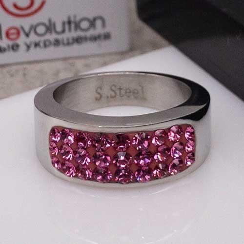 Женское кольцо Swarovski Crystal с кристаллами розового цвета