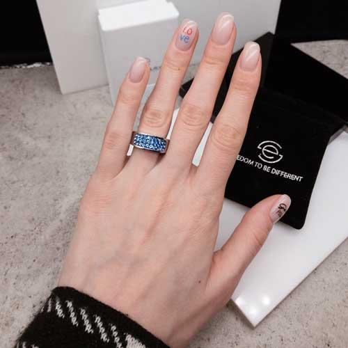 Женское кольцо Swarovski Crystal с кристаллами сапфирового цвета