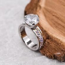 Кольцо для помолвки с белым камнем и кристаллами-хамелеонами Swarovski Crystal