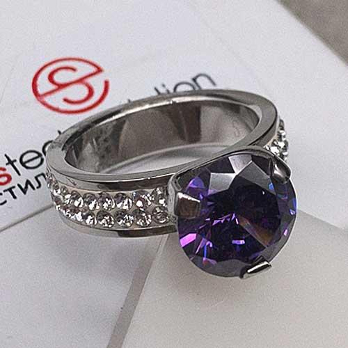 Женское кольцо Swarovski Crystal с фиолетовым камнем