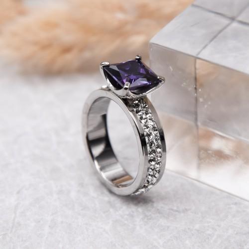 Женское кольцо Swarovski Crystal с квадратным фиолетовым камнем