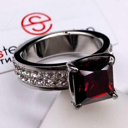 Женское кольцо Swarovski Crystal с квадратным темно-красным камнем