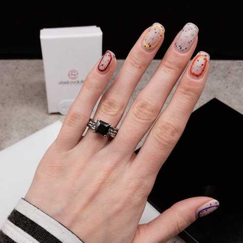 Женское кольцо Swarovski Crystal с квадратным черным камнем и серыми циркониями