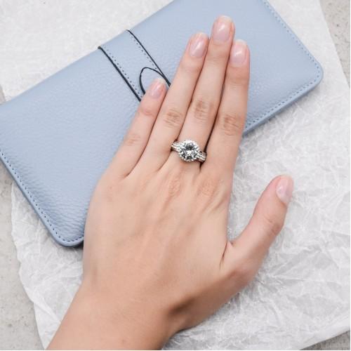 Кольцо для обручения с камнями Swarovski Crystal