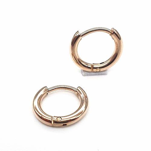Серьги кольца конго унисекс из медицинской стали розовое золото 2 мм в ассортименте