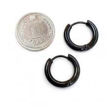 Серьги кольца черные унисекс из медицинской стали матовые 2,5 мм