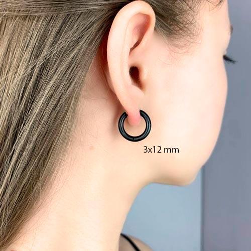 Черные стальные серьги-кольца в ухо унисекс матовые в ассортименте 3 мм