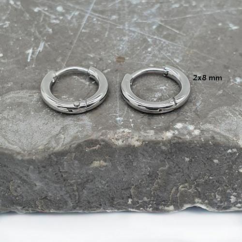 Серьги-кольца в уши из хирургической стали унисекс 2 мм