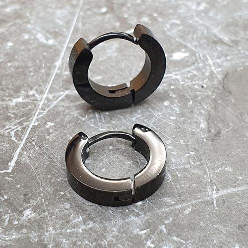 Серьги-кольца унисекс черные из медицинской стали 3 мм в ассортименте