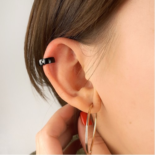 Серьга-кольцо черная в хрящ из медицинской стали унисекс округлая 2 и 4 мм (1 шт.)