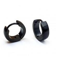 Черные сережки-кольца в ухо стальные унисекс округлые матовые 4 мм