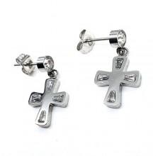 Стальные сережки с подвесками в виде крестов и фианитами