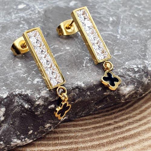 Длинные серьги из стали с покрытием под золото Good luck clover